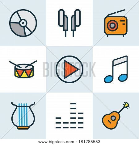 Audio Colored Outlines Set. Collection Of Set, Circle, Strings And Other Elements. Also Includes Symbols Such As Drum, Guitar, Device.
