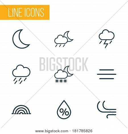 Weather Outlines Set. Collection Of Drizzle, Moon, Wind And Other Elements. Also Includes Symbols Such As Drizzle, Wind, Swirl.