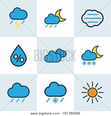 Climate Colored Outlines Set. Collection Of Overcast Weather, Thunderstroke, Lunar And Other Elements. Also Includes Symbols Such As Moon, Cloud, Wind.