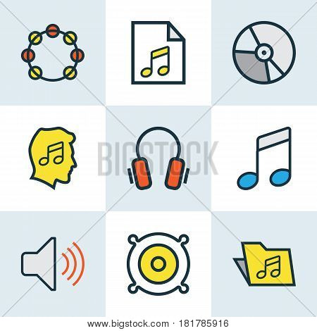 Audio Colored Outlines Set. Collection Of Sound, Earphones, Tambourine And Other Elements. Also Includes Symbols Such As List, Level, Notes.