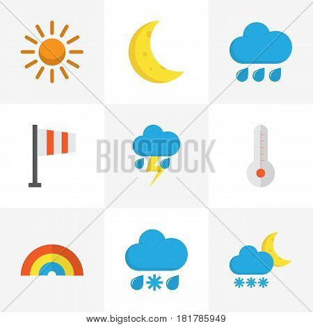 Climate Flat Icons Set. Collection Of Temperature, Sun, Moon And Other Elements. Also Includes Symbols Such As Rainy, Temperature, Bow.