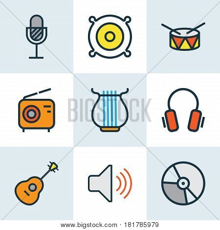 Audio Colored Outlines Set. Collection Of Harp, Earphones, Strings And Other Elements. Also Includes Symbols Such As Strings, Loudspeakers, Level.