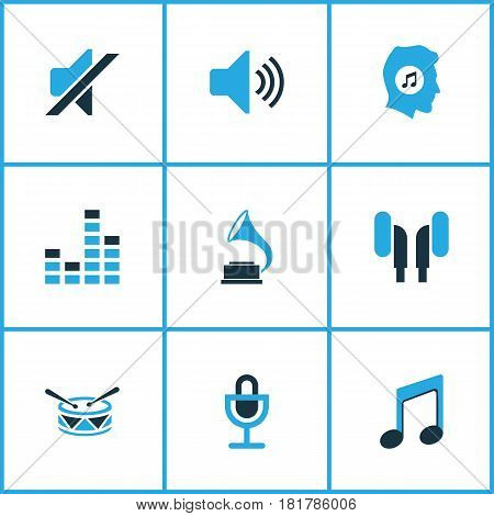 Audio Colored Icons Set. Collection Of Mixer, Drum, Microphone And Other Elements. Also Includes Symbols Such As Drum, Earmuff, Microphone.