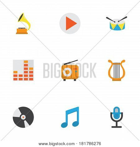 Audio Flat Icons Set. Collection Of Broadcasting, Sonata, Band Elements. Also Includes Symbols Such As Percussion, Mic, Equalizer.