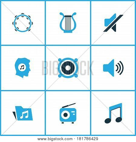Multimedia Colored Icons Set. Collection Of Volume, Mute, Radio And Other Elements. Also Includes Symbols Such As Silent, Harp, Lyre.