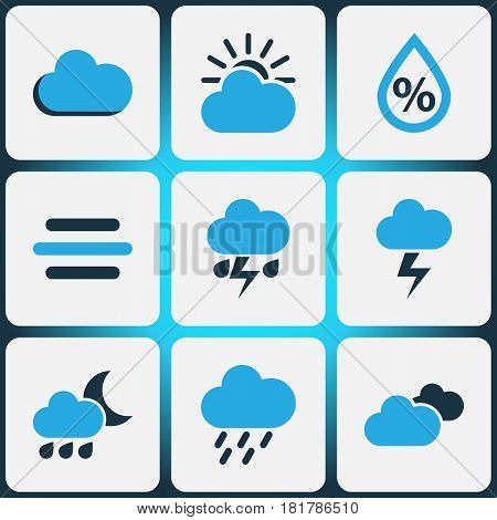 Nature Colored Icons Set. Collection Of Breeze, Cloudy Sky, Humidity And Other Elements. Also Includes Symbols Such As Overcast, Rainfall, Rain.