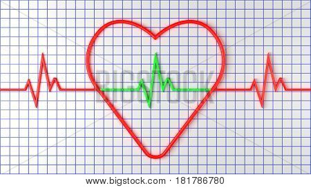 Red heart with pulse on graph paper. Conceptual digital illustration. 3D rendering.