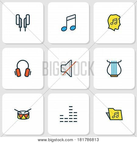 Multimedia Colored Outlines Set. Collection Of Mixer, Lover, Sound And Other Elements. Also Includes Symbols Such As Headphone, Lover, Notes.