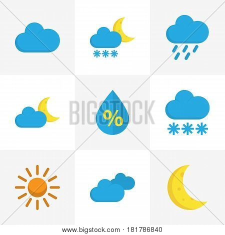 Nature Flat Icons Set. Collection Of Cloud, Moon, Crescent And Other Elements. Also Includes Symbols Such As Overcast, Moon, Hail.