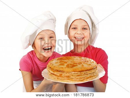 Happy little girl with tasty pancakes isolated on white