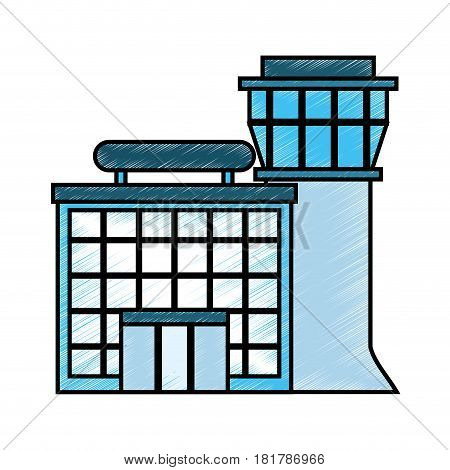 airport tower control icon vector illustration design