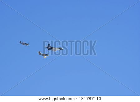 Tucson, AZ, 12th feb. 2017. Heritage Flight 2017. Diverse aircrafts from different categories flying  fly in formation together for the demonstrations.