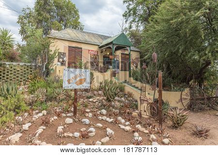 DE RUST SOUTH AFRICA - MARCH 23 2017: A shop selling handmade goods in De Rust a village in the Western Cape Province of South Africa