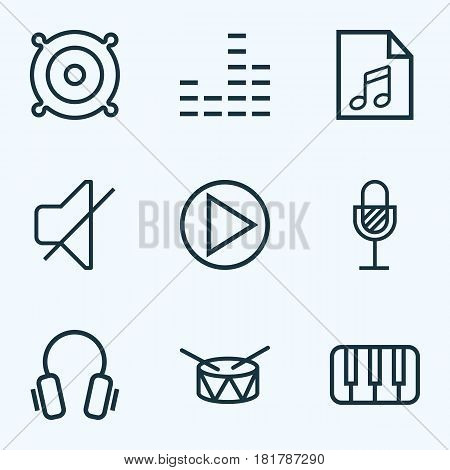 Music Outlines Set. Collection Of Amplifier, Soundless, Barrel And Other Elements. Also Includes Symbols Such As Drum, Amplifier, Equalizer.