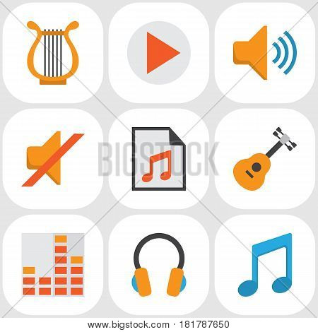Audio Flat Icons Set. Collection Of Ear Muffs, Button, Quiet And Other Elements. Also Includes Symbols Such As Sonata, Controlling, Begin.