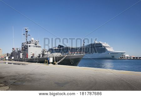 17TH FEBRUARY 2017, RHODES, GREECE - Ships in the port in the ancient city of Rhodes Greece