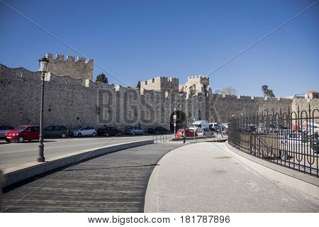 17TH FEBRUARY 2017, RHODES, GREECE - City wall in the ancient city of Rhodes Greece