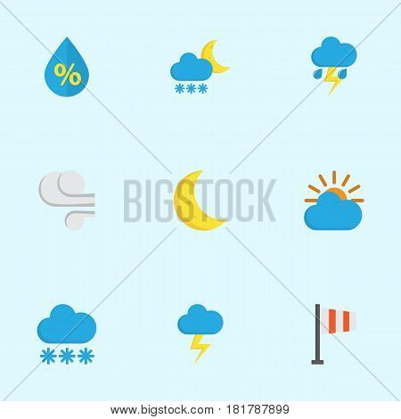 Meteorology Flat Icons Set. Collection Of The Flash, Lightning, Moon And Other Elements. Also Includes Symbols Such As Drop, Winter, Flash.
