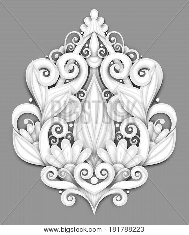 Vector Light Decorative Element In Doodle Style With Lot Of Swirls