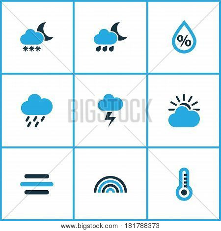 Climate Colored Icons Set. Collection Of Lightning, Drizzle, Blizzard And Other Elements. Also Includes Symbols Such As Blizzard, Arc, Gust.