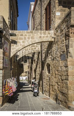 17TH FEBRUARY 2017, RHODES, GREECE - Stone passage in the ancient city of Rhodes Greece