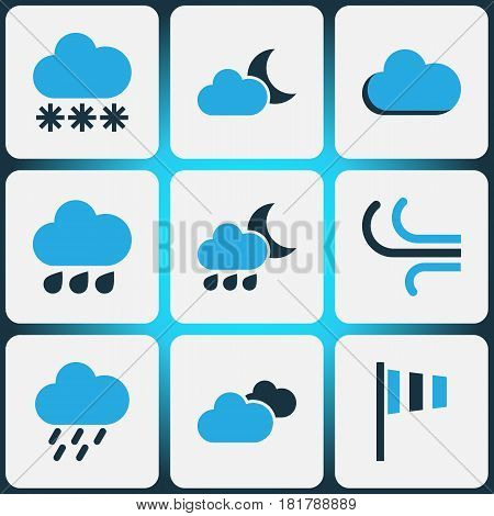 Weather Colored Icons Set. Collection Of Wind Speed, Cloudy Sky, Snowfall And Other Elements. Also Includes Symbols Such As Overcast, Drizzle, Cloudy.
