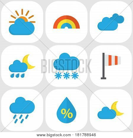 Climate Flat Icons Set. Collection Of Hailstones, Crescent, Snow And Other Elements. Also Includes Symbols Such As Drop, Winter, Sky.