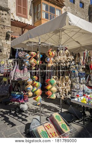 17TH FEBRUARY 2017, RHODES, GREECE - Souvenirs stall in the ancient city of Rhodes Greece