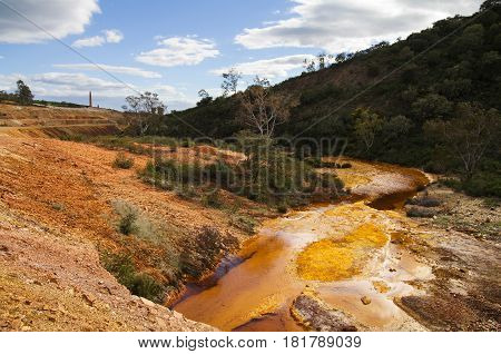Sulfur And Iron Polluted River At Sao Domingos Abandoned Mine