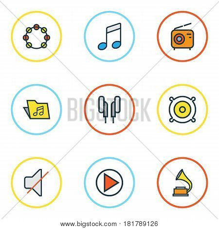 Multimedia Colored Outlines Set. Collection Of Sound, Set, Play And Other Elements. Also Includes Symbols Such As Off, On, Mute.