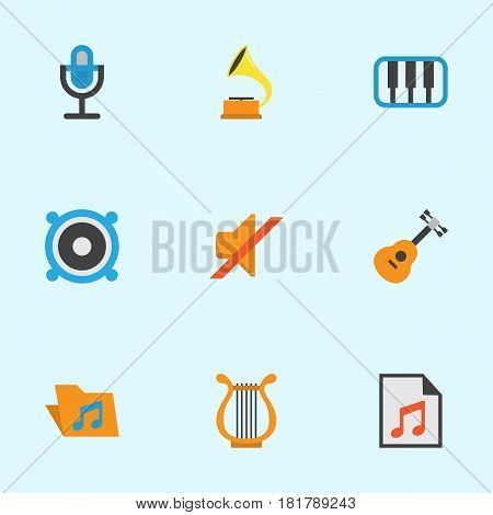 Multimedia Flat Icons Set. Collection Of Shellac, Acoustic, Sonata And Other Elements. Also Includes Symbols Such As Shellac, Mic, Music.