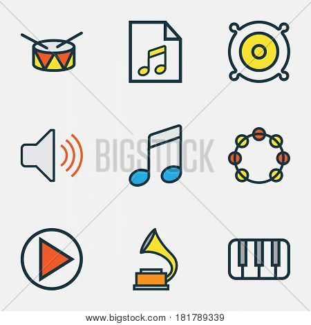 Audio Colored Outlines Set. Collection Of Play, Barrel, Sound And Other Elements. Also Includes Symbols Such As Bit, Notes, Phonograph.