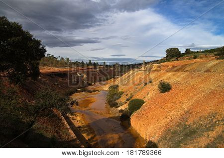 Sulfur And Iron Polluted River Amongst Gravel And Scoria Fields