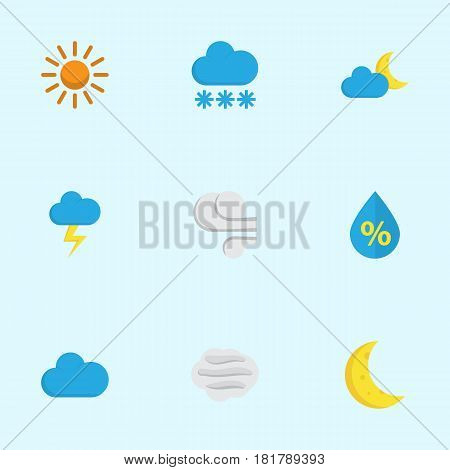 Meteorology Flat Icons Set. Collection Of Sun, The Flash, Drop And Other Elements. Also Includes Symbols Such As Wind, Moon, Crescent.