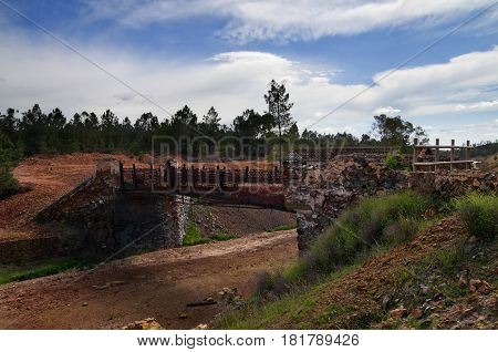 Old Stone And Metal Bridge At Sao Domingos Abandoned Mine
