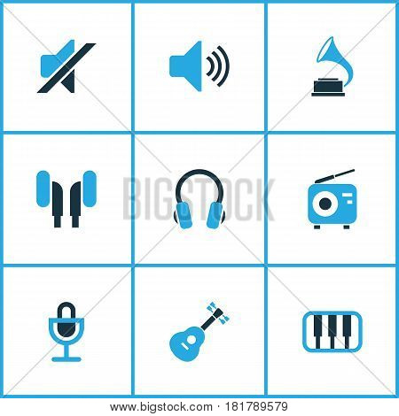 Multimedia Colored Icons Set. Collection Of Headset, Radio, Gramophone And Other Elements. Also Includes Symbols Such As Speaker, Radio, Mute.