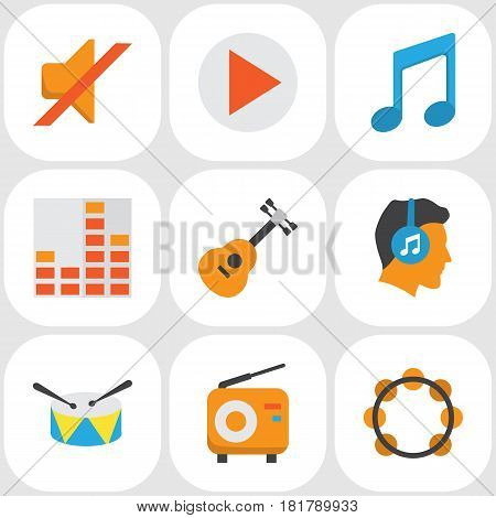 Audio Flat Icons Set. Collection Of Male, Quiet, Acoustic And Other Elements. Also Includes Symbols Such As Male, Instrument, Musical.