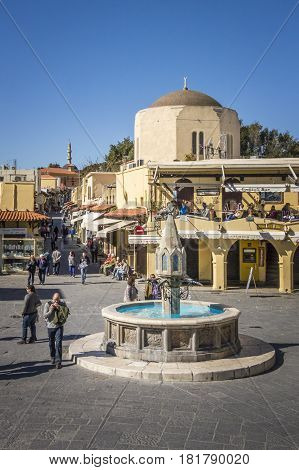 17TH FEBRUARY 2017, RHODES, GREECE - Medieval fountain in Hippocrates Square old town of Rhodes Greece