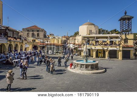 17TH FEBRUARY 2017, RHODES, GREECE - Hippocrates Square old town of Rhodes Greece