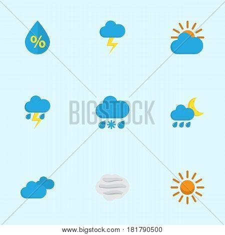 Meteorology Flat Icons Set. Collection Of Sunny, Overcast, The Flash And Other Elements. Also Includes Symbols Such As Flash, Sky, Hot.