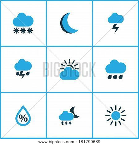 Climate Colored Icons Set. Collection Of Lightning, Thunderstorm, Snowfall And Other Elements. Also Includes Symbols Such As Drop, Forecast, Moonlight.