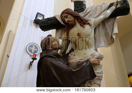 SHKODER, ALBANIA - SEPTEMBER 30: St. Francis removes Jesus from the cross St Stephen's Catholic Cathedral in Shkoder, Albania on September 30, 2016.