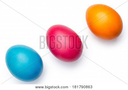 Three Colored Eggs, Isolated On White Backgroung