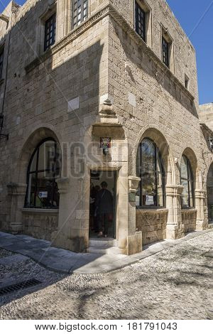 17TH FEBRUARY 2017, RHODES, GREECE - Toursit Information in the anceint city of Rhodes Greece