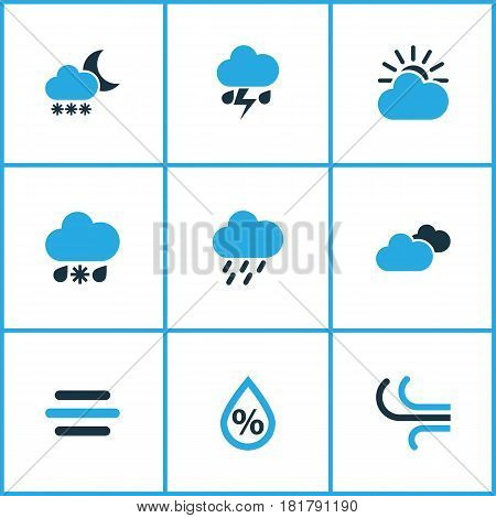 Nature Colored Icons Set. Collection Of Breeze, Blizzard, Overcast And Other Elements. Also Includes Symbols Such As Blizzard, Snowfall, Humidity.