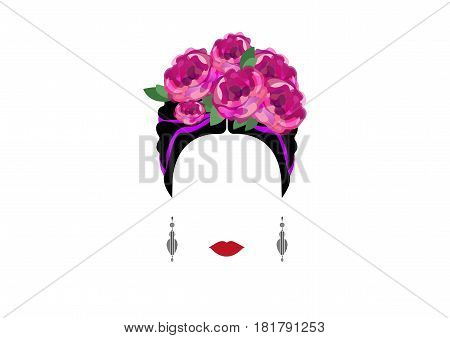portrait of modern Mexican or Spanish woman with camellia flowers and earrings, vector illustration isolated