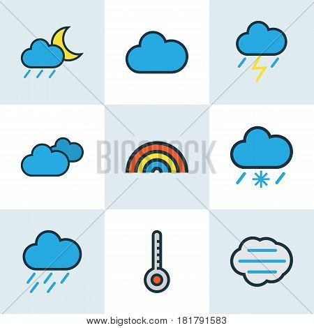 Nature Colored Outlines Set. Collection Of Cloudy Day, Overcast Weather, Rainbow And Other Elements. Also Includes Symbols Such As Weather, Overcast, Scale.