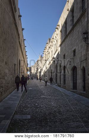 17TH FEBRUARY 2017, RHODES, GREECE - View of a street in the medieval town of Rhodes Greece
