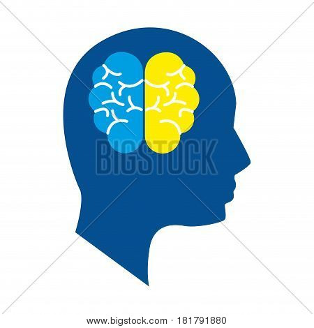 mental health silhouette person with brain, vector illustration