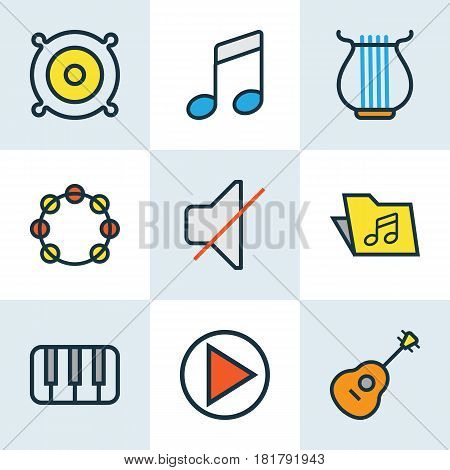 Multimedia Colored Outlines Set. Collection Of Tambourine, Keys, Loudspeakers And Other Elements. Also Includes Symbols Such As Start, Piano, Harp.